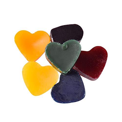 6 colores de cera de vela, bloque de colorantes en forma de corazón, 6 colores, cera de soja, colorante, para cera de velas