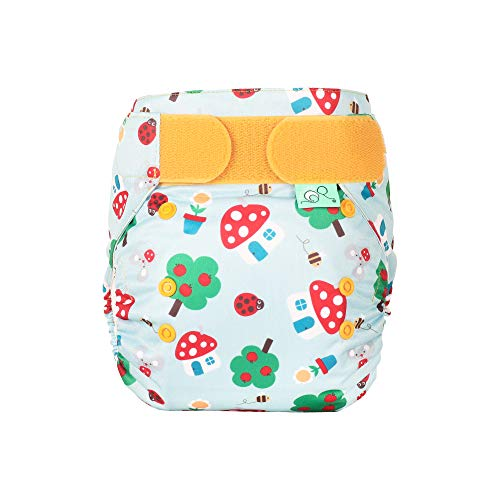 TOTSBOTS EasyFit Star Reusable Nappy - Our Premium Cloth Nappies Pampers Any Size Baby from Newborn to a Potty-Training Toddler in Easy to Wash Style (Mushroom Town)