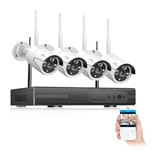 Kit De Cámaras De Seguridad WiFi Inalámbrica 1080P, Cámaras HD CCTV De Vigilancia NVR 4 Canales, Cámaras Tipo Bala Impermeable IP66 Con IR Visión Nocturna, Almacenamiento Nube, Monitoreo Interior Exterior, Control Remoto iOS y Android