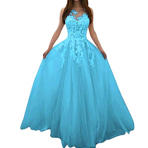 Sayla Damen Spitze Ärmellos Party Club Slim Abend Brautkleid Cocktail Ballkleid Damen Spitzenkleider Lang Abendkleider Lang Ballkleider Lang Cocktailkleider Lang Sommerkleid (Blau, XXXXXL)