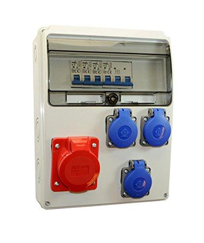 Baustromverteiler/Wandverteiler 3 x 230V/16A Schuko & 1 x CEE 16A/400V verdrahtet + LS