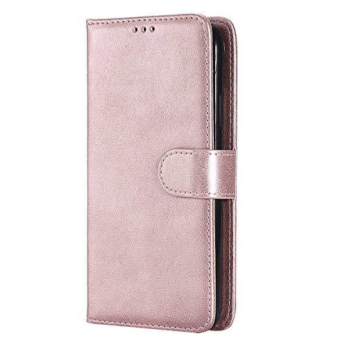 Bear Village® Hülle für Apple iPhone XR, Flip Leder Handyhülle Tasche mit Kartensfach, TPU Innere Ledertasche, 360 Grad Voll Schutz, Rose Gold