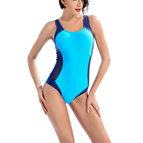 WHCREAT Damen Racerback Einteiler Badeanzug Colorblock Seite Mesh Design Bademode Badebekleidung - Blau XL