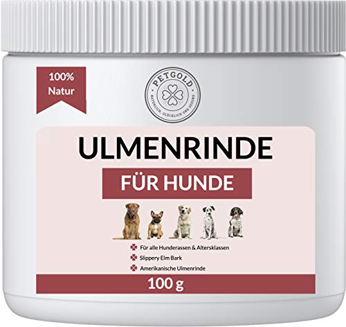 Petgold Ulmenrinde für Hunde 100g – 𝗨𝗹𝗺𝗲𝗻𝗿𝗶𝗻𝗱𝗲 Premium Slippery Elm Bark Pulver Ulmenrindenpulver Hund