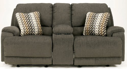 Hot Sale Herztio Steel Fabric Upholstery Glider Reclining Power Loveseat With Console