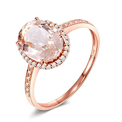 AMDXD Anillo de Oro Mujer 18K Puro, Anillo de Compromiso 1.9ct Ovalada Morganita con 40pcs Diamante, Oro Rosa, Tamaño 22 (Perímetro: 62mm)