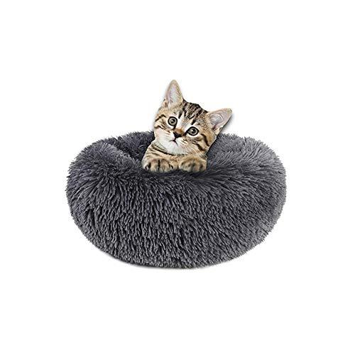 Waitata - Cama para perros pequeños y gatos con forma de rosquilla para perros pequeños y gatos con calefacción automática para dormir en interiores, varios tamaños (50,8 cm), color gris oscuro