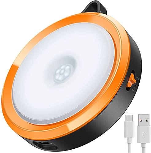 LED人感センサーライト,EMNT USB充電式 電池式 夜間ライト 大容量電池 自動点灯 消灯 センサーライト 室内 地震 停電 防災 対策 緊急照明 足元灯 玄関 階段 本棚 クローゼット用 両面テープ マグネット付