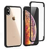 LOFTer Hülle Kompatibel mit iPhone XS Hülle 360-Grad-Ganzkörper Schutzhülle iPhone X Cover Eingebauter Displayschutzfolie Transparent Durchsichtig Stoßfest Handyhülle für iPhone XS/X 5.8' Schwarz