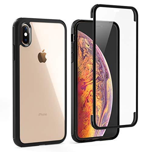 """LOFTer Coque Compatible avec iPhone XS avec Protège-écran Housse Intégré en Verre Trempé 360 Degré Full Body Protection Etui Antichoc Transparent Robuste Bumper Case pour iPhone XS/X 5.8"""" Noir"""