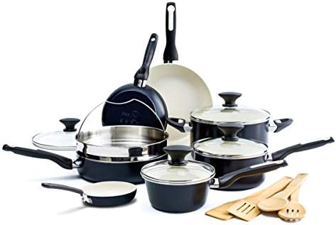 GreenPan Rio Healthy Ceramic Nonstick Cookware Pots and Pans Set 16 Piece Black product image