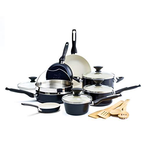 GreenPan Rio Healthy Ceramic Nonstick, Cookware Pots and Pans Set, 16-Piece, Black