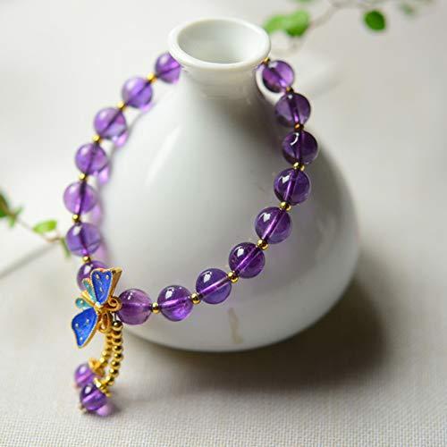 WCOCOW Feng Shui Riqueza Pulsera De Cristal para Mujer Amatista Natural 925 Plata De Porcelana Azul Mariposa Abalorios Brazalete Amuleto Atrae La Suerte del Dinero