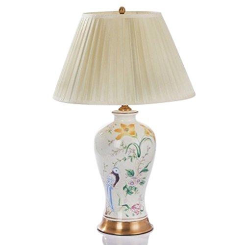 Lampe de table F Lampe de Table en Céramique - Style Européen Chambre, Salon, Lampes de Table Basse Décoration Lampe de Table en Céramique avec Oiseau Peinte à la Main
