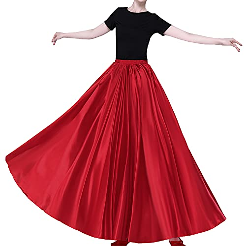 Red Light Bohemian Flowy Full Circle Long Maxi Skirt for Girls 14-16-18 Years Dance Party Cosplay Costume