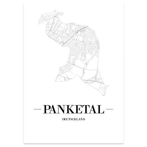 JUNIWORDS Stadtposter, Panketal, Wähle eine Größe, 40 x 60 cm, Poster, Schrift A, Weiß