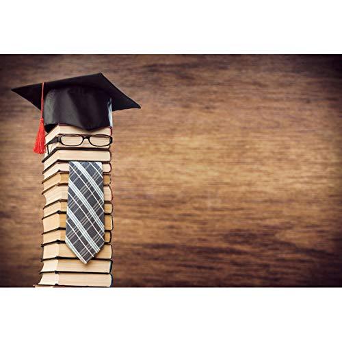 Yeele 1,5x1m Graduatie Fotografie achtergrond voor studenten Academische cap Bril Boeken Houten behang Foto Achtergrond voor fotografie Kinderen School Graduate Prom Foto Rekwisieten