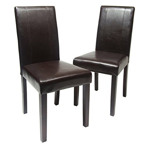Roundhill Furniture C020BR Urban Style Solid Wood Leatherette Padded Parson Chair, Brown, Set of 2