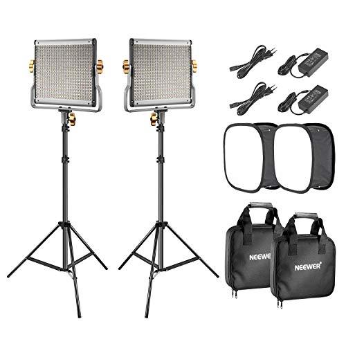 Neewer 2-Pack 480 LED Luz Video Panel LED Bicolor Regulable (3200-5600K, CRI 96+) Soporte Luz de 2m y Difusor Softbox para Retrato de Producto de Estudio Fotográfico Fotografía Video Youtube