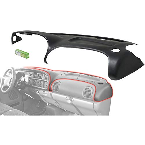 Black Molded Plastic Dash Pad Cover Overlay Fits 98-02 Dodge Ram Trucks
