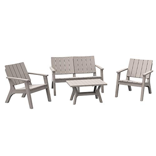 Outsunny 4-Piece Outdoor Patio Conversation Set Garden Furniture Set with Weather-Fighting PP Materials, Adirondack Comfort, & Coffee Table, Light Coffee