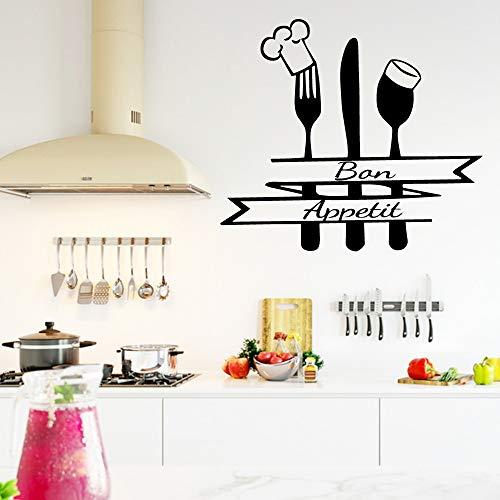mlpnko Küchenappetit Wandaufkleber Messer Gabel Abnehmbare Wandtattoo Künstler Home Decoration,CJX12470-76x85cm
