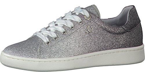 s.Oliver 5-5-23698-20 Modischer Damen Freizeitschuh, Sneaker, Schnürhalbschuh in metallic Optik, weiches Soft Foam Fußbett metallic (Silver/Black), EU 37