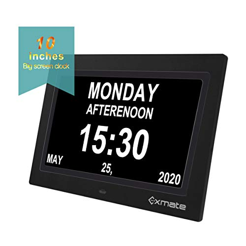 """Exmate Day Clock Calendar, 10"""" Extra Large Non-Abbreviated Screen Display, AM/PM, with 13 Alarm Options, Snooze Function, Adjustable Brightness, for Elderly, Visual Impairment, Dementia, Memory Loss"""