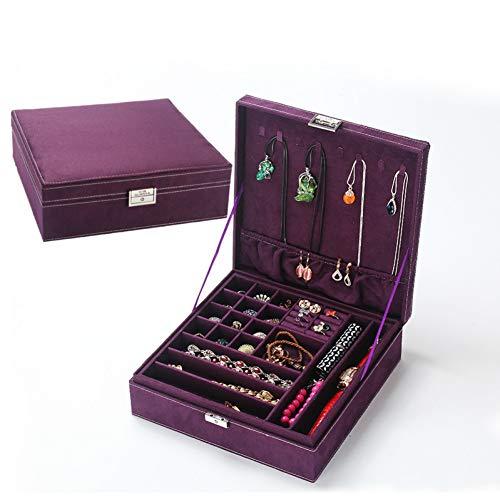 LLQM Dubbele juwelendoos, 26x26x9cm, juwelen opbergdoos, grote capaciteit