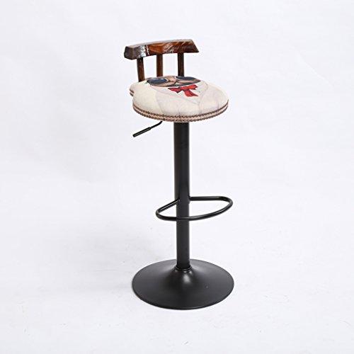 XAGB Sedia da bar vintage può essere sollevata e abbassata Cuscino Bar Sedia creativa in stile europeo Sedia in legno altezza 60-80 cm