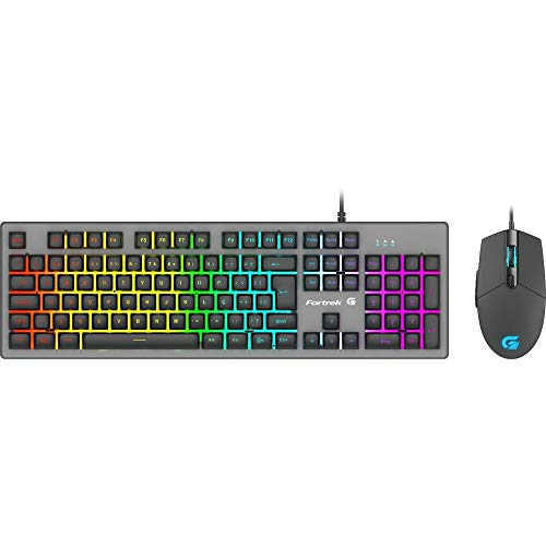 Kit Teclado + Mouse Gamer 6400dpi Rgb Rainbow Ranger Grafite Fortrek