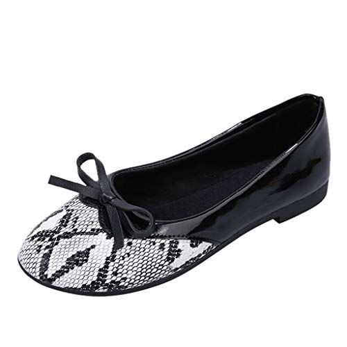 Deloito Damen Mode Flache Schuhe Mädchen Bowknot Schlange Leopard Drucken Mokassins Loafers Einzelneschuhe Frauen Freizeit Niedriger Absatz Turnschuhe (Weiß,35 EU)
