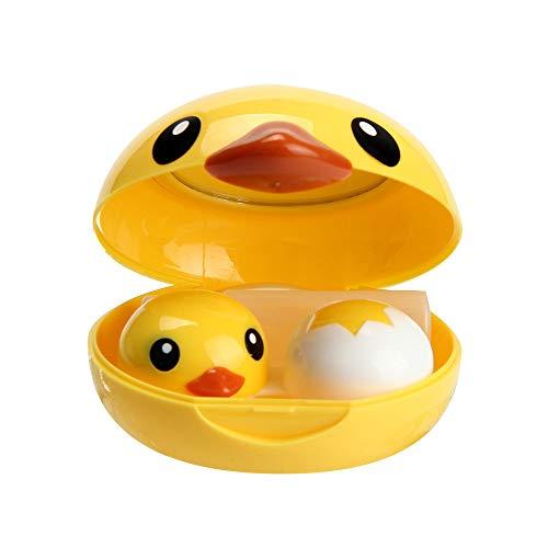 FiedFikt Mini-Reise-Kontaktlinsenbehälter aus Kunststoff, tragbar, für Studenten/Kinder, leicht zu tragen, Gelb