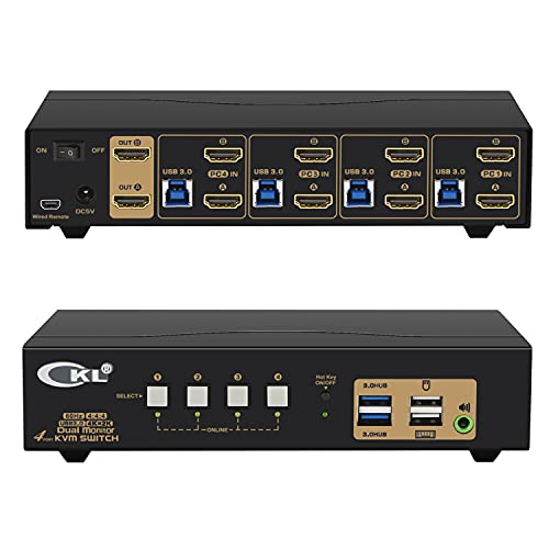 CKL 4 Port USB 3.0 KVM Switch Dual Monitor HDMI 4K 60Hz, Keyboard Video Mouse Peripherals Switcher for 4 Computers 2 Monitors with Audio