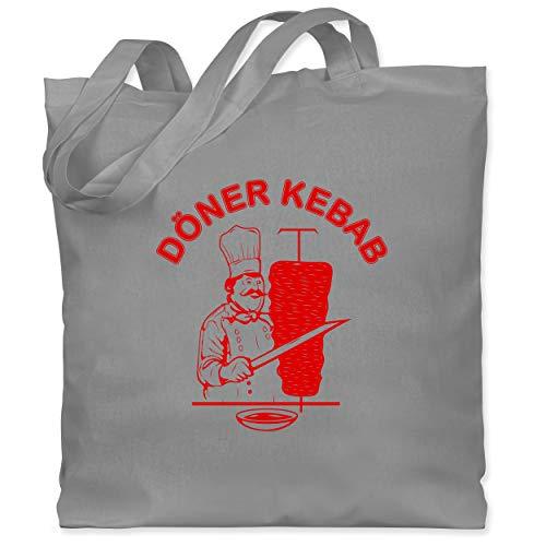 Shirtracer Statement - Original Döner Kebab Logo - Unisize - Hellgrau - döner kebab tasche - WM101 - Stoffbeutel aus Baumwolle Jutebeutel lange Henkel