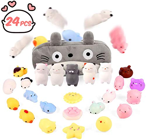 Gooidea Moj Moj Squishies Squishy Toys for 3 4 5 6 7 Year Old Girls Preteens 24pcs Mochi Squishies Mini Kawaii Squishies, Party Favors Toy Gifts for Kids, Squishies Cat with Cartoon Bag