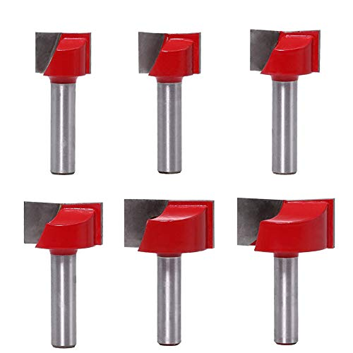 ASNOMY Set di 6 punte per fresatura, con codolo da 8 mm, Bit Router Fresa Pulizia Fondo Lavorazione Legno Lega Acciaio, per la pulizia del legno, punta 18/20/22/25/30/32 mm