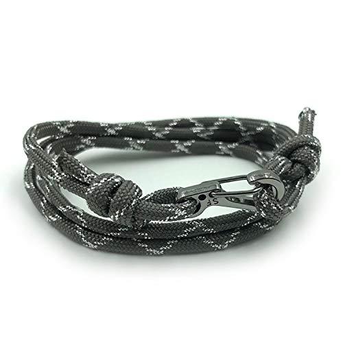 Rock + Shore Metallic Glitter Grau & Silber Verstellbarer Karabiner Seil Armband | Kletterarmband | Herren Seil Armband | Damen Seil Armband