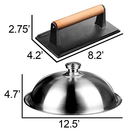 41mcihCvW+L. SL500  - HOMENOTE Grillzubehör-Set, 30,5 cm große, robuste runde Grillabdeckung/Käseschmelzhaube mit Burger-Speckpresse aus Gusseisen, perfekt für flache Grillroste, Braten drinnen und draußen