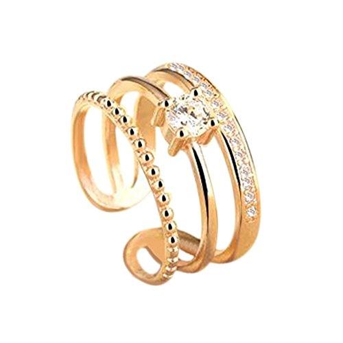 Monbedos Damen-Ring, Kristall, verstellbar, mehrschichtig, offener Diamant, Hochzeitsring, Verlobungsring, Verlobungsring, Ewigkeitsring