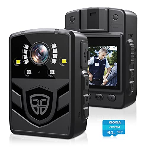 Aasonida 4K Police Body Camera, Body Worn Camera with 64 GB Card, Shockproof Portable Body Camera with Audio Recording, Night Vision for Law Enforcement