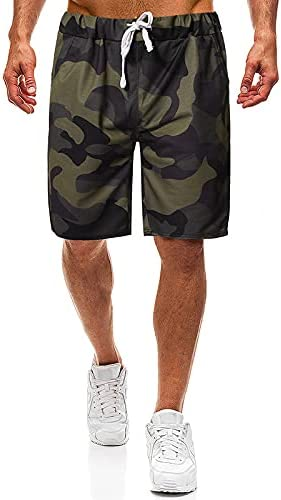 Qiudaoyu Men's Tooling Camouflage Shorts Stretch Waist Multi-Pocket Outdoor Military Tactical Shorts(Army Green Camouflage,L)