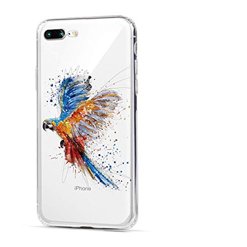 HUIYCUU Case Compatible with iPhone 8 Plus for iPhone 7 Plus Case,Cute Animal Design Slim Fit Soft TPU Funny Pattern Thin Clear Shockproof Case for Girl Women Novelty Bumper Back Cover,Bird Colorful