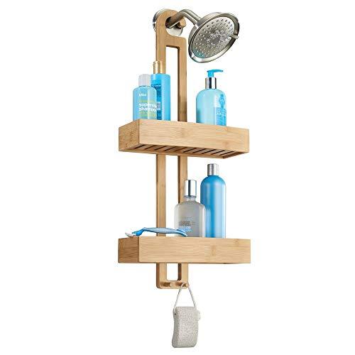 mDesign Duschablage zum Hängen - praktisches Duschregal - ohne Bohren zu montieren - Duschkörbe zum Hängen aus Bambus für sämtliches Duschzubehör (Shampooflaschen, Rasierer etc.)