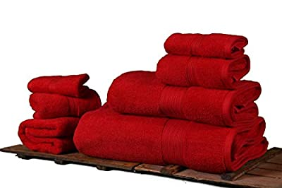 Varol Turkish Towels, 700 GSM Luxury Light Gray Set of Bathroom Towels, 7 Pieces, 1 Bath Sheet, 2 Bath Towel, 2 Hand Towel, 2 Washcloths, Organic Cotton (Red)
