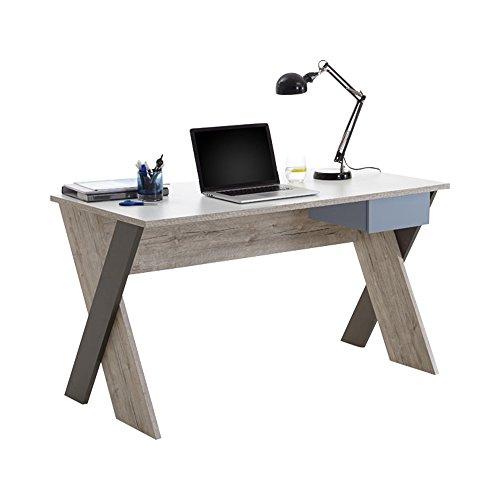 FMD furniture Schreibtisch, Holzwerkstoff, Sandeiche/Weiß/Lava/Denim, ca. 135 x 75 x 67,5 cm