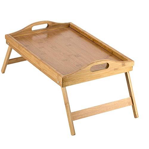 JxLinAAHH Draagbare Opklapbare Tafelbed Tafel met Opklapbare Benen En Ontbijtlade Bamboe Bed Tafel En Bedlade Met Benen 1st