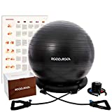 RGGD&RGGL Gymnastikball, Pilates Ball, Stabilitätsring&2 einstellbaren Widerstandsbändern für jedes Fitnesslevel, 1,5-mal Gymnastikball für Zuhause&Fitnessstudio &Büro&Schwangerschaft