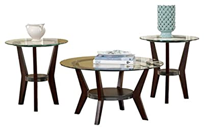 Ashley Furniture Signature Design - Fantell Circular Glass Top Occasional Table Set - Contains Cocktail Table & 2 End Tables - Contemporary - Dark Brown