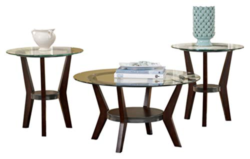 Signature Design by Ashley - Fantell Circular Glass Top Occasional Table Set - Includes Cocktail Table & 2 End Tables, Dark Brown